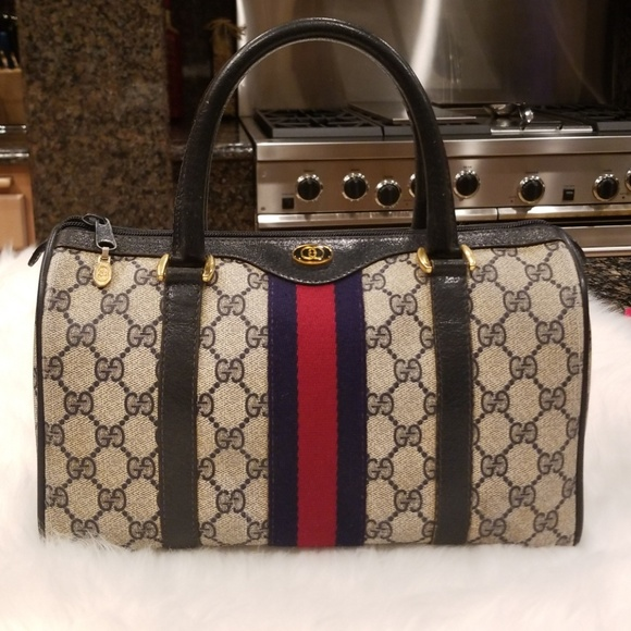 d89c292a4c85e8 Gucci Bags | Vintage Web Gg Monogram Canvas Boston Bag | Poshmark